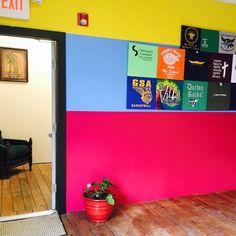 Painting the walls #cmyk at our #newlocation in #WilkesBarre. Of course!  #thecolorjunction #graphicdesign #print