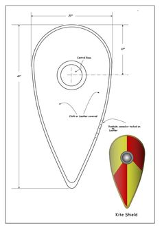 Medieval Heater and Kite Shield How to Project. Kite Shaped shield with measurements