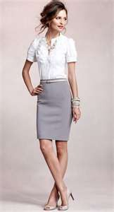 My favorite look for work. A nice button up blouse along with a pencil skirt. Sophistication.