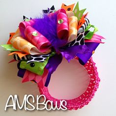 OOAK Over the Top Stacked Boutique Bow Headband  by AMSBows, $15.00