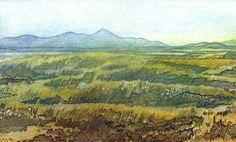Distant Hills, collagraph print by Debra Wenlock