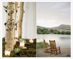 The tree-trunk rounds under the candles were also used as table labels (with the table numbers carved out of the middle and painted for definition). Friggin great idea for a cottage-country/lake-district wedding!