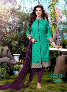 ..TOP FABRIC: Cotton ..TOP COLOR: Bottle Green & Purple ..TOP LENGTH: 42 Inches ..TOP SIZE: Up To 56 ..BOTTOM FABRIC: Cotton ..BOTTOM COLOR: Purple ..BOTTOM SIZE: 2.50 Mtr ..DUPPATTA FABRIC: Chiffon ..DUPPATTA COLOR: Purple ..DUPPATTA SIZE: 2.50 Mtr ..SUIT TYPE: Unstitched Suit ..STYLES: Straight Cut Suit ..WORK: Heavy Embroidered ..OCCASION: Party, Festival, Events ..CATALOGUE NO: KSA161-2009