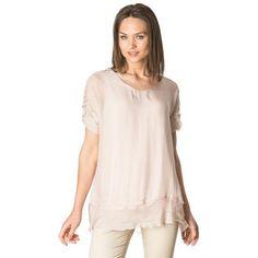 Pink adjustable sleeves silk blouse