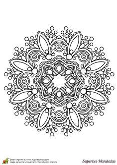 Coloriage d'un magnifique mandala dans le style indien pas très compliqué - Hugolescargot.com                                                                                                                                                                                 Plus