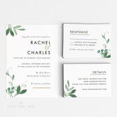 Printable Wedding Invitation Set - Modern Botanical Wedding Invites- Ready to Print PDF- rsvp card- Letter or A4 Size (Item code: P127)