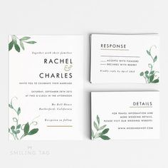 Printable Wedding Invitation Set - Modern Botanical Wedding Invites- Ready to Print PDF- rsvp card- Letter or A4 Size (Item code: P127)