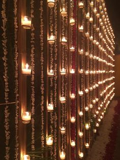 Wall with candles and floral nighttime decor - Best Picture For winter wedding ceremony decorations For Your Taste You are looking for something, and Desi Wedding Decor, Wedding Hall Decorations, Wedding Entrance, Wedding Mandap, Backdrop Decorations, Wedding Venues, Backdrops, Wedding Ceremony, Wedding Ideas