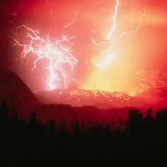 VOLCANOE EXPLODING UNDER THE POWER OF LIGHTNING STRIKING