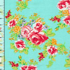 Brick Red Roses on Aqua Blue Cotton Jersey Blend Knit Fabric