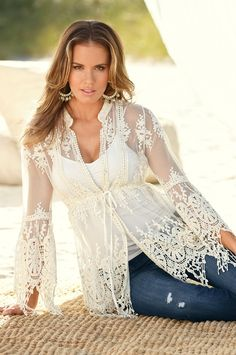 Embroidered lace tunic