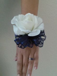 Ready to Ship White Rose Wrist Corsage with by BecauseOfLoveFloral