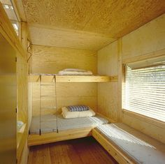 Plywood for bunks Cabin Bunk Beds, Bunk Beds Built In, Sustainable Building Design, Plywood Interior, Timber Architecture, Bunk Rooms, Bedrooms, Tiny House Cabin, Farm House