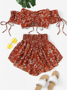 Shop online for the latest collection of Jumpsuits&Two-piece Outfits. Find the best styles and deals at ROMWE right now! Teen Fashion Outfits, Teenage Outfits, Trendy Outfits, Girl Outfits, Womens Fashion, Cute Summer Outfits, Cute Outfits, Summer Dresses, Floral Tops