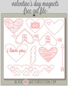 Free Cut File: DIY Valentine's Day Heart Magnets | www.blackandwhiteobsession.com