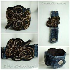 Zipper, Felt and upcycled denim cuff bracelet from D MamaOwl boutique on Etsy and Facebook :)