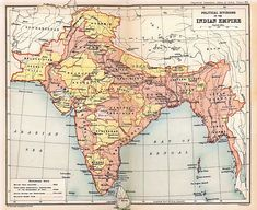 """A map of India while under the British Empire's rule, then known as the 'British Raj'. Most British considered this colony in particular as the """"Crown Jewel of the Empire"""" for its lush recourses and many luxuries. India Poster, India Map, India India, History Of India, British History, Uk History, Empire, Colonial India, British Colonial"""