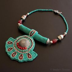 Bold Ethnic Turquoise and Red Necklace by SmadarsTreasure on Etsy