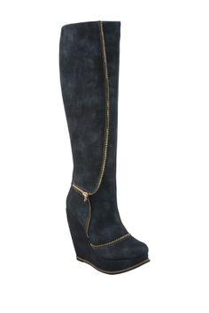 Tall Zip Wedge Boot