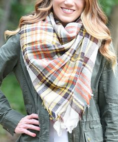 Look what I found on #zulily! Gray & Orange Plaid Fringe Blanket Scarf by PeekABootSocks #zulilyfinds