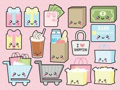 Go check out the adorable Premium Vector Clipart Kawaii Shopping by LookLookPrettyPaper :) :) Shopping Clipart, Griffonnages Kawaii, Kawaii Shop, Kawaii Anime, Kawaii Stickers, Cute Stickers, Kawaii Drawings, Cute Drawings, Printable Stickers