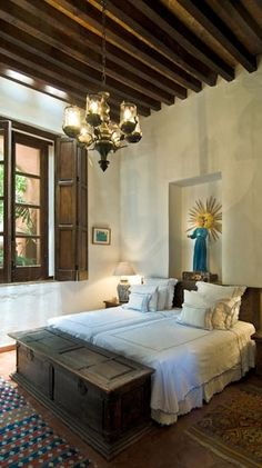 Hacienda Style...like the wall carve out. Capture the authentic spirit of Mexico at http://www.lafuente.com  #interiordesign #Mexico #hacienda