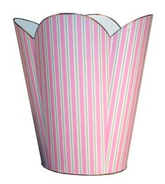 Pink and Green Striped Decoupage Wastebasket and Optional Tissue Box