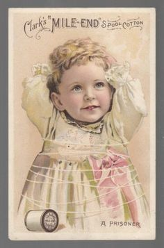 "1880s Trade Card Clark's Mile End Spool Cotton ""A Prisoner"""