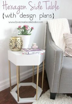 diy hexagon side table, bedroom ideas, home decor, painted furniture, woodworking projects
