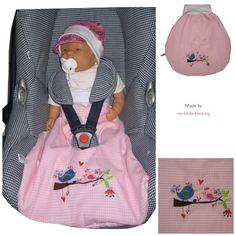 """Babyschlafsack Strampelsack """"Birds"""" Vichy rosa von Me Kinderkleidung auf DaWanda.com"""