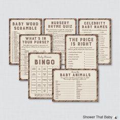 Rustic Baby Shower Games Package   Seven Printable Games: Bingo, Price Is  Right, Purse Game, Nursery Rhyme   Rustic Wood Burlap Baby 0034