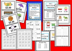 Add or subtract money to $10.00 with these 2 whole group activities, 6 centers, and 6 worksheets.