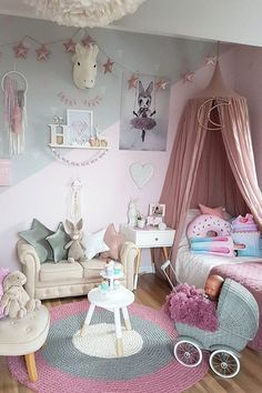 Pink bedroom ideas girls room decor little shabby chic tween organization toddler paint shared modern young big and vintage soft blush bedr Room Decor For Teen Girls, Baby Girl Room Decor, Baby Room Themes, Baby Bedroom, Little Girl Rooms, Home Decor Bedroom, Girls Bedroom, Room Baby, Bedroom Wall