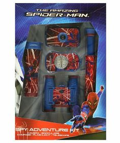 The Amazing Spider-Man 5-Piece Spy Adventure Kit - colors may vary, one size by The Amazing Spider-Man. $17.99. This deluxe 5-piece kit from The Amazing Spider-Man has everything he needs to make playtime adventures more fun than ever. All items have eye-catching Spider-Man details. Includes: Flashlight: illuminates 10 feet; uses 2 AA batteries (not included). 35 mm Camera: focus free; uses any 35 mm slide or film. 4 x 28 Binoculars: compact size; great for birdwatching...