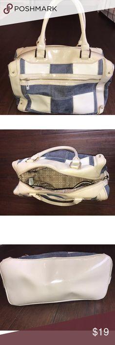 "Liz Claiborne White Patent & Denim patchwork purse Liz Claiborne Eggshell White Patent and blue Shoulder Satchel Handbag.  Patchwork design in white patent leather, blue denim and blue suede. Patent bottom and handles.  Gold-tone hardware. It does not have a shoulder Strap. Double handles. Multiple pockets: 1 outside zipper pocket, 1 inside zipper pocket and 4 other inside pockets. Excellent Condition- such a cute bag perfect for spring & summer!  Measurements: 7.5"" handle drop 17"" wide 10""…"
