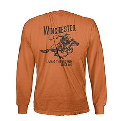 Official Winchester Mens Cotton Vintage Rider Graphic Printed Long Sleeve T-Shirt (XXL, Texas Orange). Official Licensed Product - an Amazon Special designed and printed only by Four Seasons Design. Relaxed fit and breathable long sleeve tee made of 100% cotton pre-shrunk jersey knit with tagless crew neck for comfortable all day wear. Available in fun colors for men and women. Dark Chocolate and Forest Green color features a subtle tonal design. Relive a great American history and own…
