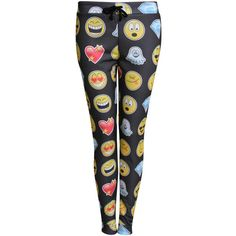 Pilot Nicole Emoji Print Jogger Pants ($21) ❤ liked on Polyvore featuring pants, black, trousers, patterned pants, print jogger pants, black trousers, jogger trousers and black pants