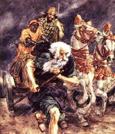 """Elijah Runs Ahead of Ahab to Jezreel. - 1st Kings 18:46, """"And the hand of the LORD was on Elijah; and he girded up his loins, and ran before Ahab to the entrance of Jezreel."""""""
