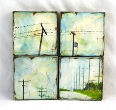 "four mixed media artworks: painting combined with digital painting & photography, mounted on a 4""x4"" wood panel, painted on top with pigmented encaustic (beeswax)  combined with the encaustic layers and line drawing on top of the beeswax finished with rich brown stain"