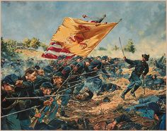 """""""The Forlorn Hope""""-Don Troiani. 1st Maine Heavy Artillery charge at Petersburg. In less than ten minutes it was over. Those who could, retreated to the shelter of the sunken road. But most remained on the field. Of the 900 men who began, 240 were dead or dying and 364 lay wounded. The assault was destined to secure for them an unwanted and unenviable place in American Civil War History. It held the record for the highest number of casualties in a single battle of any regiment in the war."""