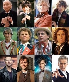 The Doctor portrayed by series leads in chronological order. Left to right from top row; William Hartnell, Patrick Troughton, Jon Pertwee, Tom Baker, ...