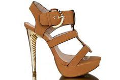 Sandalen Pump Mules Stiletto High Heels in Gold  Knöchel Fessel T Riemen Schnall