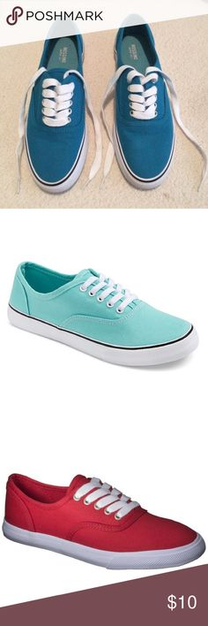 Sneakers -Turquoise, Light Blue, Red, Pink, Flower Gently Used Women's Layla Sneakers Mossimo Supply Co. Mossimo Supply Co Shoes Sneakers