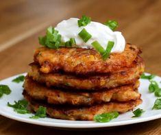 Cheddar Corn Fritters Recipe by Tasty Corn Fritter Recipes, Corn Recipes, Side Dish Recipes, Veggie Recipes, Vegetarian Recipes, Cooking Recipes, Side Dishes, Keto Recipes, Proper Tasty