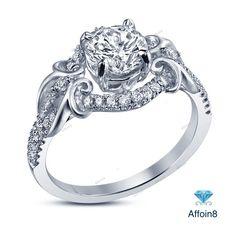 2.00 CT Round D/VVS1 Dimaond 925 Silver Split Shank & Halo Style Engagement…