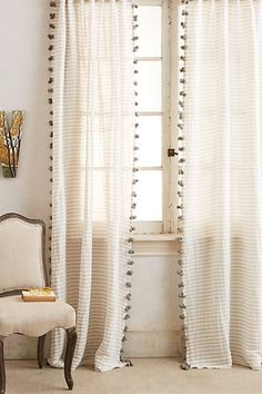 Anthropologie Pom Tassel Curtain Anthropologie Pom Tassel Curtain The post Anthropologie Pom Tassel Curtain appeared first on Gardinen ideen. Pom Pom Curtains, Drop Cloth Curtains, Home Curtains, Hanging Curtains, Sheer Curtains, Elegant Curtains, Striped Curtains, Grey And White Curtains, 96 Inch Curtains