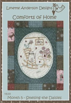 Comforts of Home Block 5 - Smelling The Daisies – Quilting Books Patterns and Notions Book Quilt, Daisies, Quilt Patterns, Sewing Crafts, Quilting, Artists, Embroidery, Green, Books