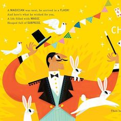 I hope your day is maaaaaagical!!!!! Another spot from 'All These Things I Wish For You' published by @papier. #magical #magician #magictrick #whiterabbit #childrensbookillustration
