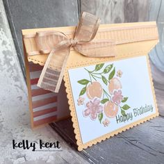 Sweet As a Peach Fancy Fold – kelly kent Birthday Cards For Men, Handmade Birthday Cards, Fancy Fold Cards, Folded Cards, Stamping Up Cards, Card Tutorials, Diy Cards, Homemade Cards, Card Making
