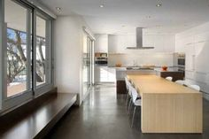 contemporary kitchen and dining table made of wood